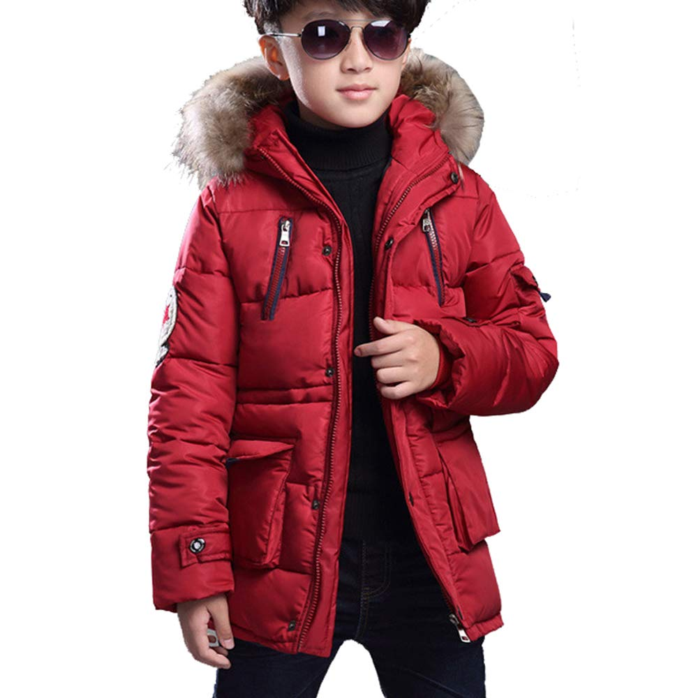 Farvalue Boys Winter Coat Warm Quilted Puffer Parka Jacket Fur Hood Big Boy