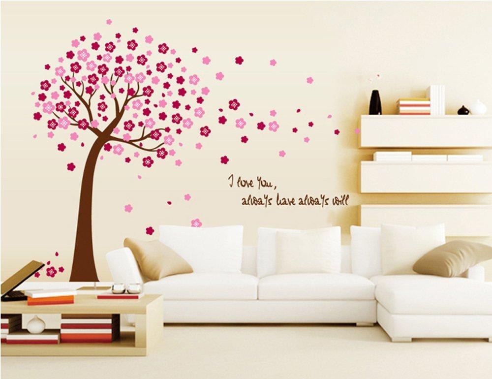 Great ufengke romantico fiore albero rosso adesivi murali camera da letto soggiorno adesivi da - Farfalle decorative per pareti ...