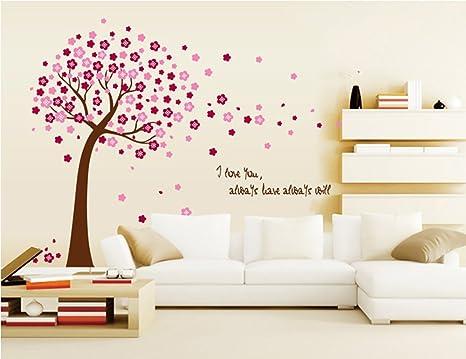 Ufengke Romantico Fiore Albero Rosso Adesivi Murali Camera Da