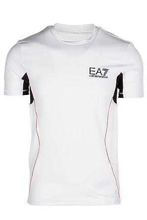 Emporio Armani EA7 Herren T-Shirt Kurzarm Kurzarmshirt runder Kragen Weiß  EU M (UK