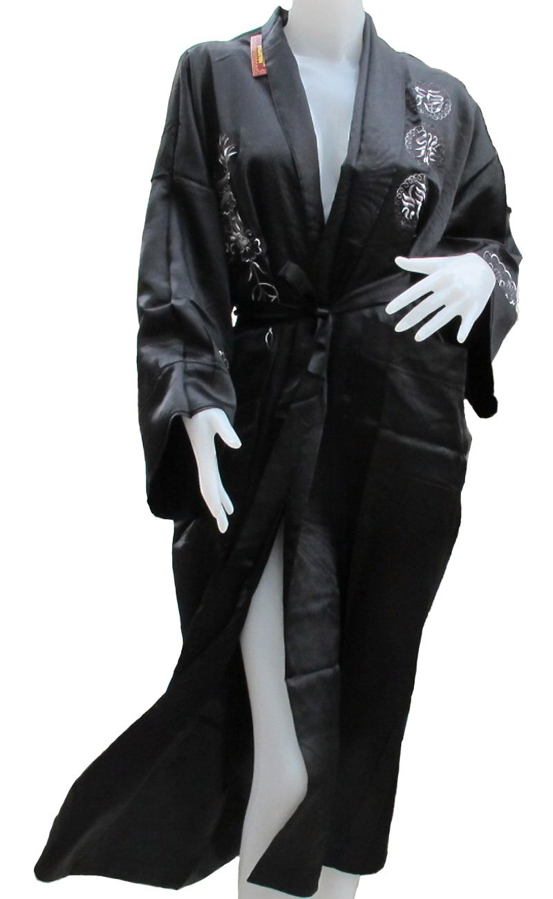 ''HelloHappiness'' ''BEST SELLER'' (CHINESE BATH ROBE WITH REALLY BIG DRAGON IN BOTH SIDE) BEAUTIFUL ROBE CAN BE USED BOTH SIDE (BLACK AND BLACK) APPROX.SIZE = AMPIT TO AMPIT 27 INCHES LONG 50 INCHES BIG DRAGON MEAN BIG POWER
