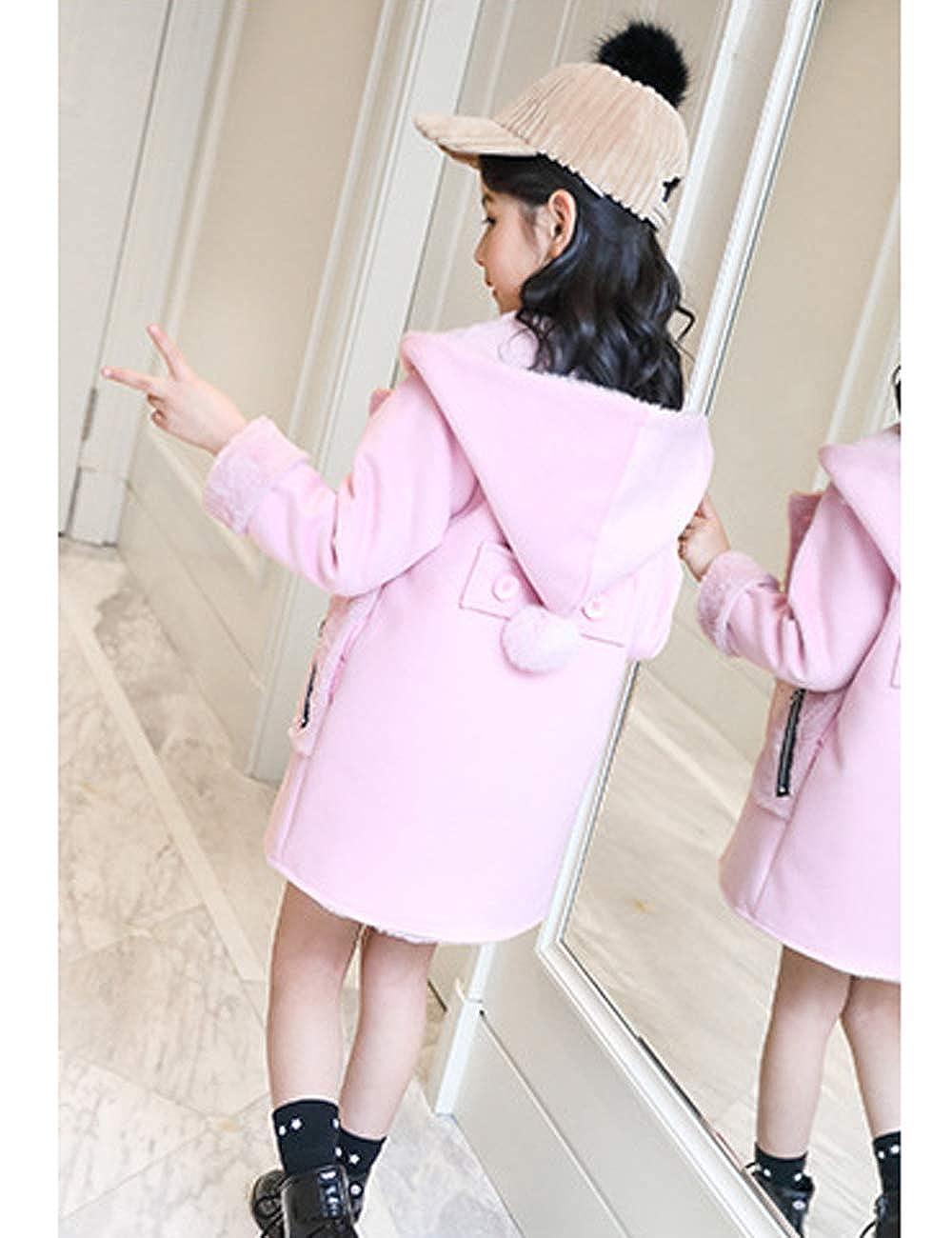 MOKAYA Girls Hooded Woolen Coat Fleece Lined Winter Dress-Coats Warm Jacket