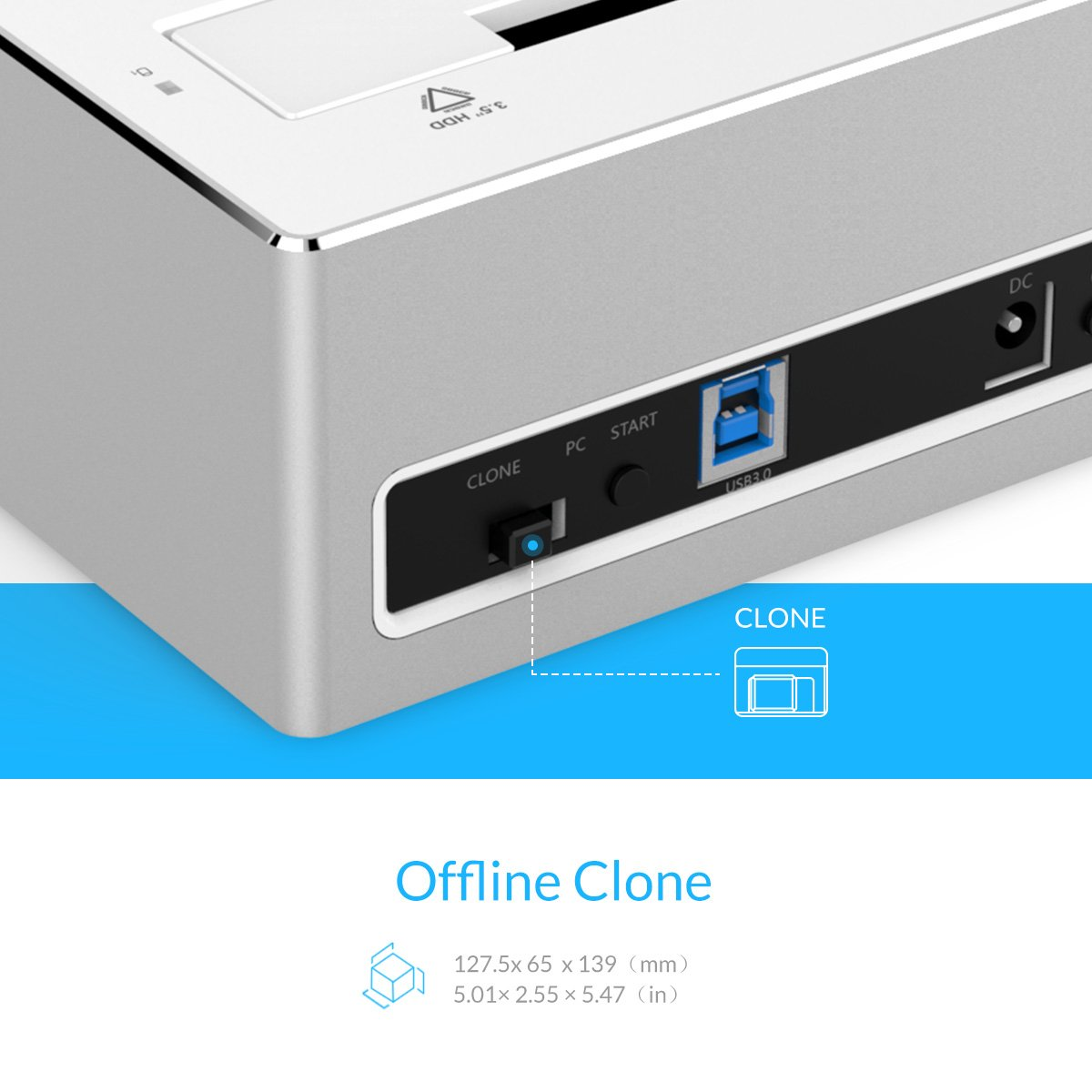 Tool-free ORICO Aluminium USB 3.0 to SATA Dual Bay Hard Drive Docking Station with Offline Clone Backup Function for 2.5 Inch /& 3.5 Inch HDD SSD SATA I//II//III Supports UASP and 2 x 8 TB
