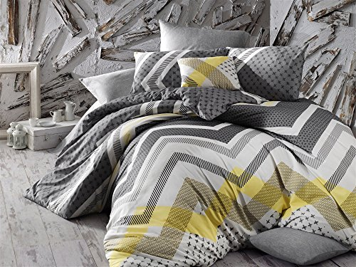 Cross Pattern Yellow (3 Pcs Luxury Soft Colored Full and Double Bedroom Bedding 65% Cotton 35% Polyester Quilt Duvet Cover Set Geometric Pattern Gray Black Yellow Cross Zig Zag Irregular Super Bed Kerry - Grey Grey White Y)