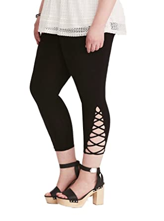 3139e74db73b4e Torrid Lattice Inset Cropped Leggings at Amazon Women's Clothing store:
