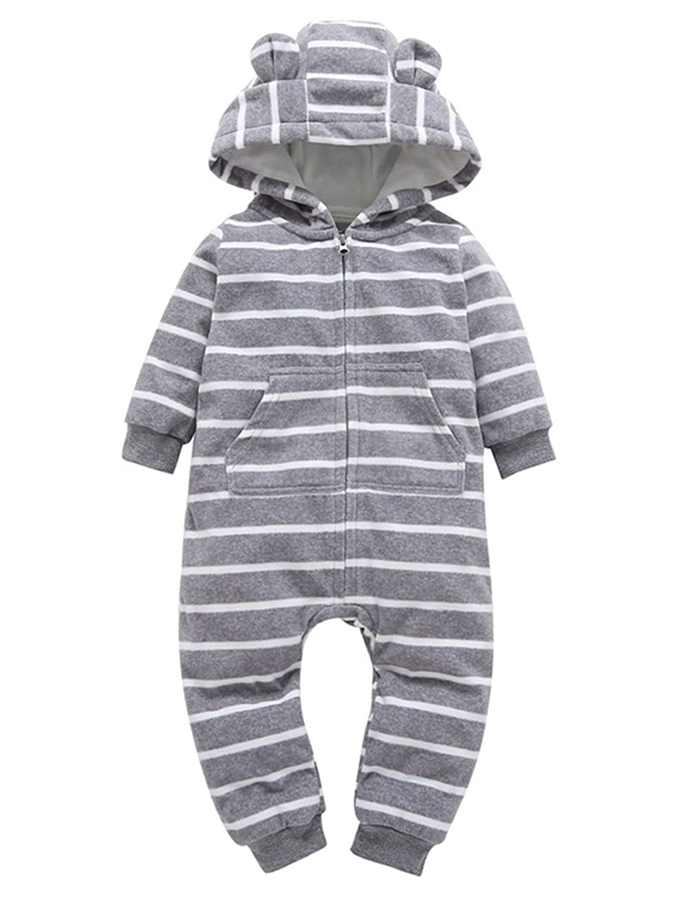 Weant Baby Boy Girl Clothes Newborn Winter Outfits Onesie Thicker Skull Hooded Romper Jumpsuit Home Clothes
