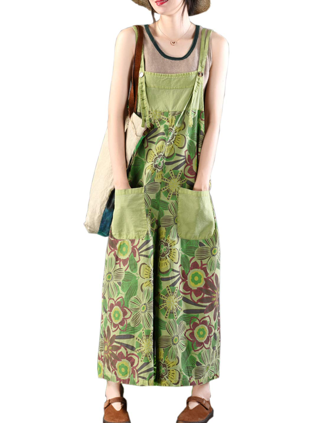 Flygo Women's Loose Baggy Cotton Wide Leg Jumpsuits Rompers Overalls Harem Pants (One Size, Style 15 Green)