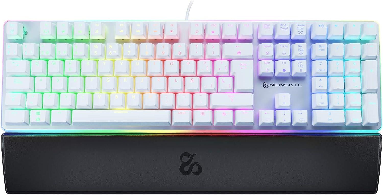 Newskill Suiko Ivory Switch Brown - Teclado Mecánico Gaming con Reposamuñecas Incluido (Teclas con grabación Macro, 11 Modos de iluminación RGB), Blanco