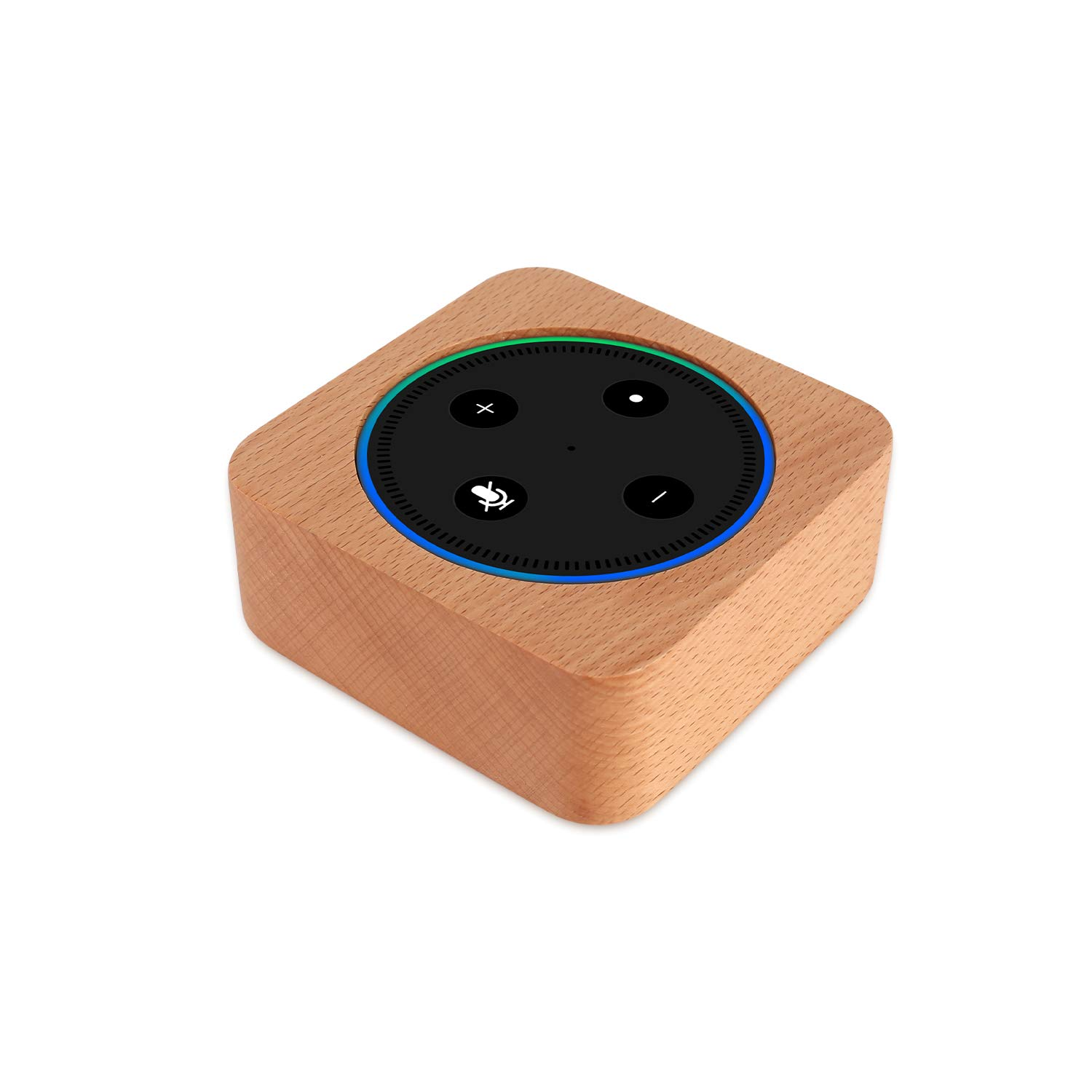 CamRom Natural Solid Wood Stand For Amazon Echo Dot【2nd Generation】, Solid Wood Speaker Holder Docking Station for Alexa, Protective Case Made from Beech Wood, Saving Space on Nightstand or Tables