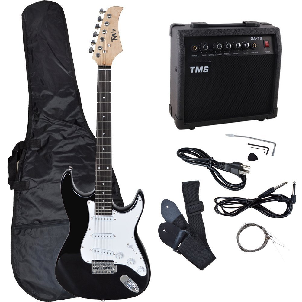 TMS Full Size Electric Guitar w/ 10 Watt Amp Gig Bag Case Guitar Strap for Beginners T-Motorsports