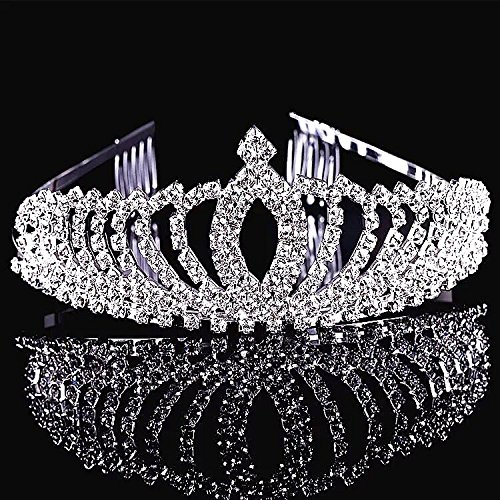 SudaTek Novelty Princess Tiara Sparkle Crystal Rhinestone Kid's Crown Birthday Glitter Tiara with Comb -