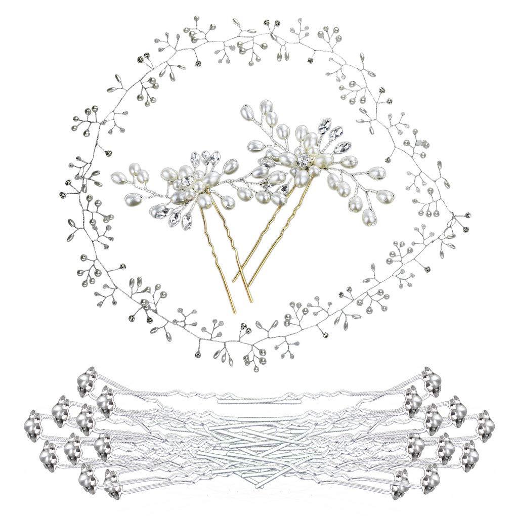 Bantoye Wedding Hair Accessories 2Pcs Rhinestone Pearl Hair Pins, 1 Pack Pearl Wedding Headpiece Vine, 20Pcs Flower Crystal Hair Clips for Bridal, Women by Bantoye