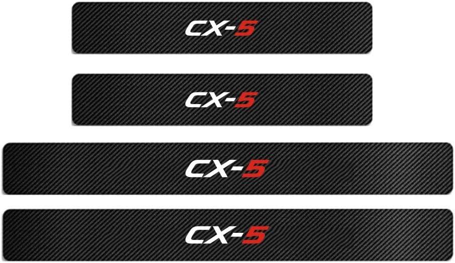 CX-5 MAXMILO 4Pcs Mazda CX-4 Door Sill Protector Reflective 4D Carbon Fiber Sticker Decoration Door Entry Guard Door Sill Scuff Plate Stickers for Mazda CX-4 CX-5 AXELA Mazda 3 ATENZA Mazda 6