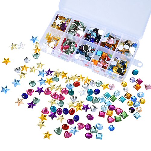 Outus 500 Pieces Gems Flatback Rhinestones Acrylic Craft Jewels Gemstone Embellishments, Heart Star Square Oval, Round, with Plastic Storage Box, Assorted - Acrylic Embellishments