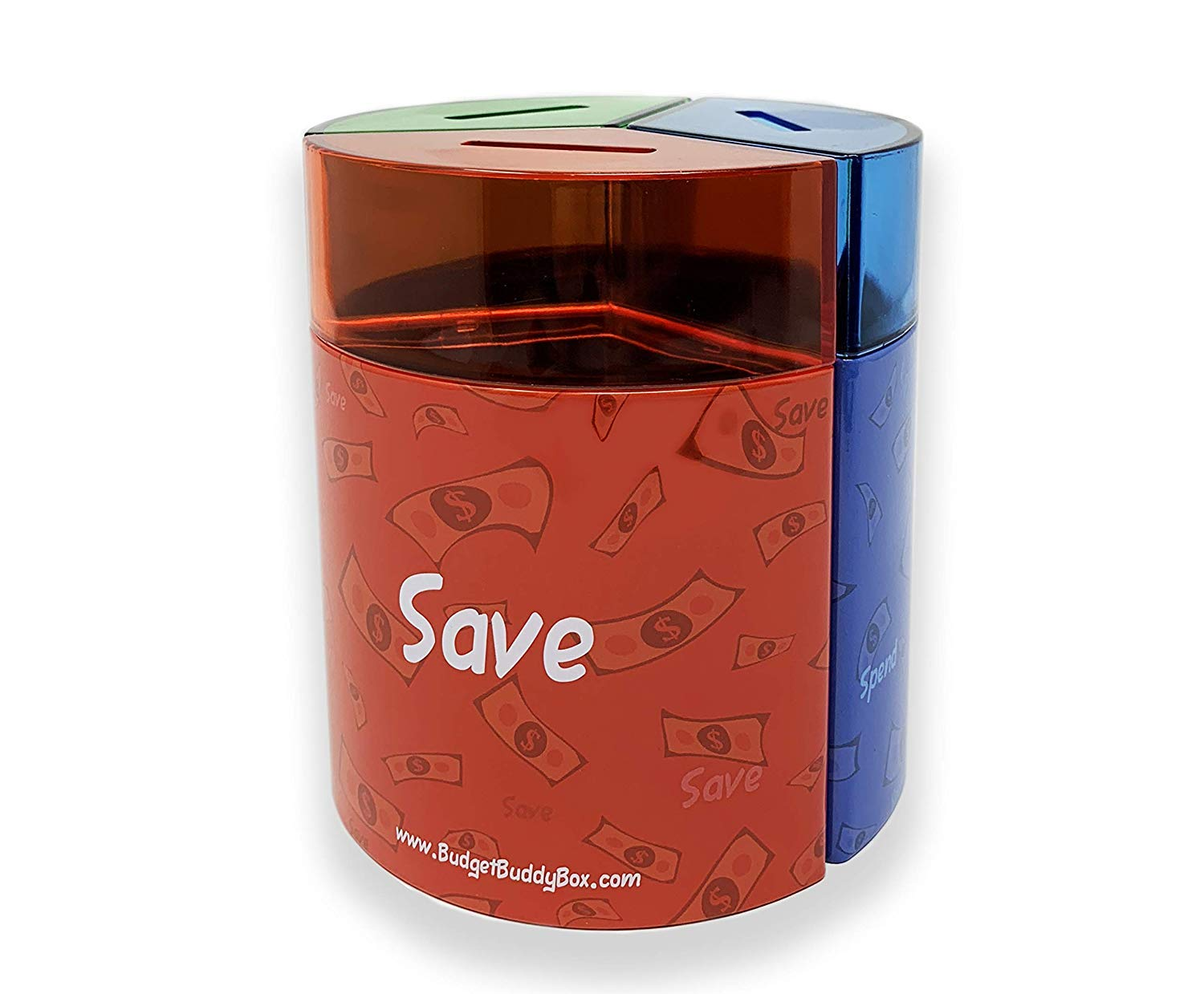 Save Spend Share Money Jar | Three-Part Money Tin Teaches Kids Financial Management - Deposit Coins and Bills