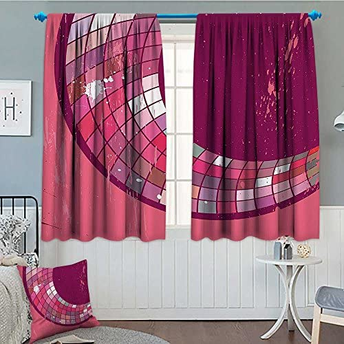 SeptSonne Pink Decor Thermal Room Darkening Window Curtains Grunge Pink Abstract Art Design Mosaic Pattern and Color Blots Illustration Decor Curtain