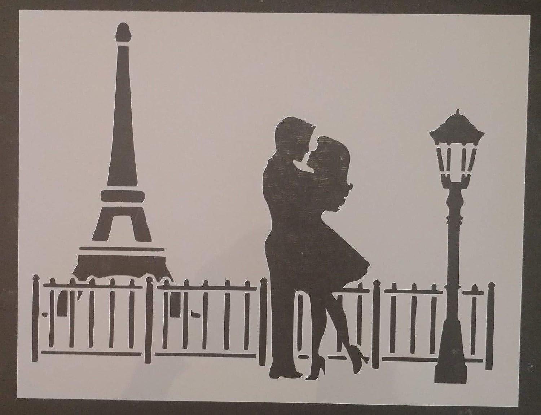 OutletBestSelling リユーザブル 頑丈 パリ エッフェル塔 愛 男性 女性 キスする11インチ×8.5インチステンシル B07H3CKKN2