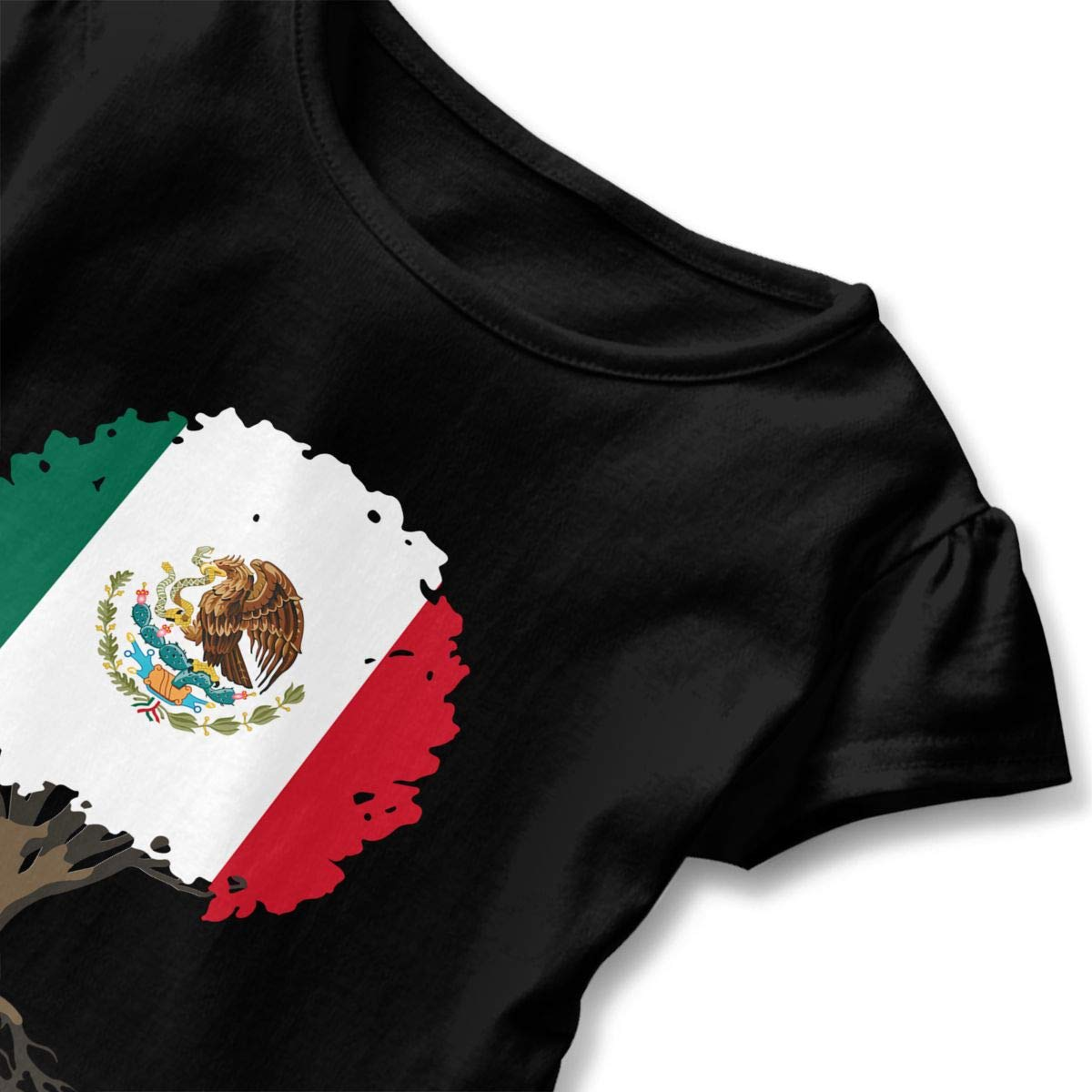 HYBDX9T Little Girls Tree of Life with Mexico Flag Funny Short Sleeve Cotton T Shirts Basic Tops Tee Clothes