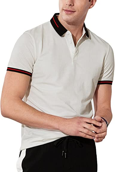 RENHONG Camiseta De Rayas Blancas Negras De Hombre Camiseta De ...