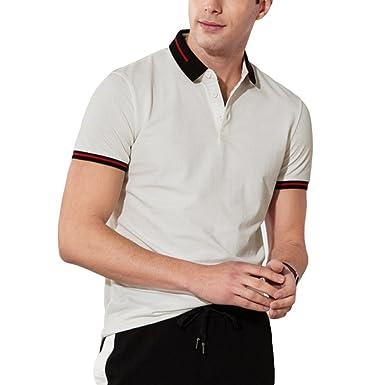 RENHONG Camiseta De Rayas Blancas Negras De Hombre Camiseta De Verano Sueltas De Negocios Camisetas De