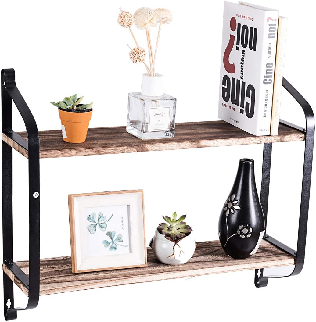 Giantex Wooden Floating Shelves Wall Mounted, Industrial Wall Shelves for Pantry Living Room Bedroom Kitchen Entryway, 2 Tier Rustic Storage Shelf Heavy Duty