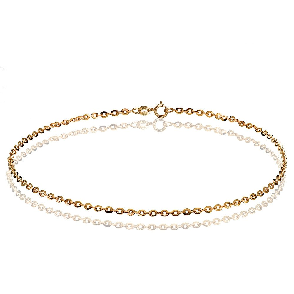 Bria Lou 14k Rose Gold 1.4mm italian Diamond-Cut Cable Chain Anklet, 9 Inches