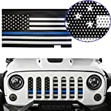jeep wrangler blue grill inserts - MOEBULB Mesh Grille Insert Steel American Flag Front Grill for 2007-2017 Jeep Wrangler JK & Unlimited 2/4 Door (Thin Blue Line, Without Key Hole)