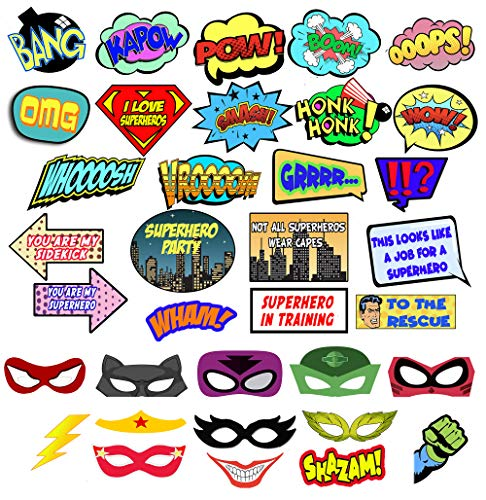 Superhero Photo Booth Props – Ultimate Comic superhero Decorations Set for Selfie & Photo Booth Pics – Colorful Superhero Props and Masks– 35 Super Hero Party Supplies Set by Scapa Pro ()