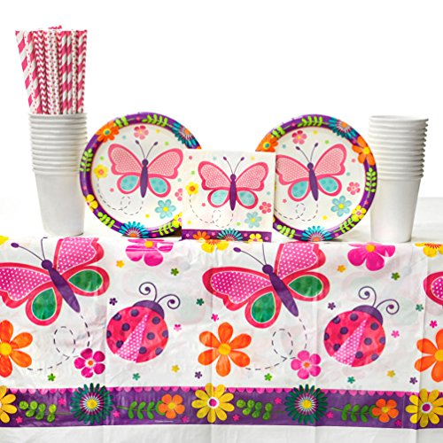 Butterfly Garden Birthday Party Supplies Pack for 16 Guests: Straws, Dessert Plates, Beverage Napkins, Table Cover, and Cups