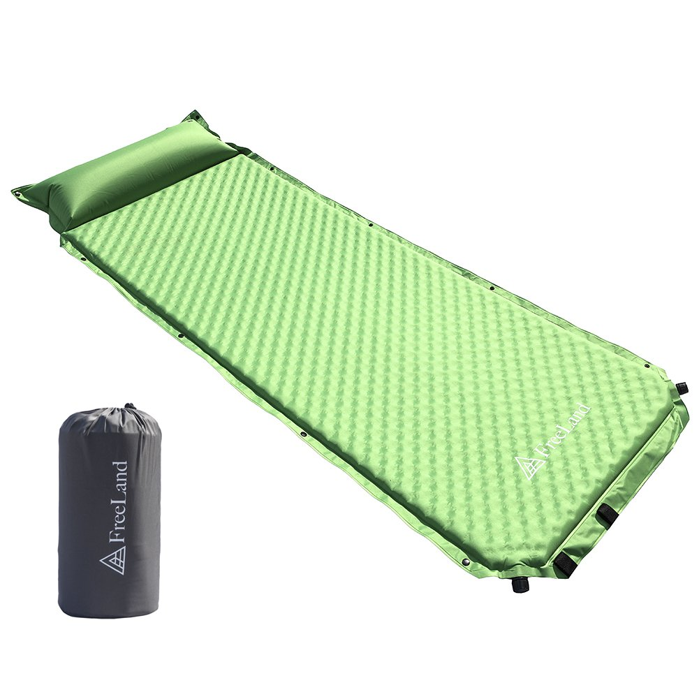 FreeLand Camping Sleeping Pad Self Inflating with Attached Pillow, Compact, Lightweight, Large, Green Color by FreeLand