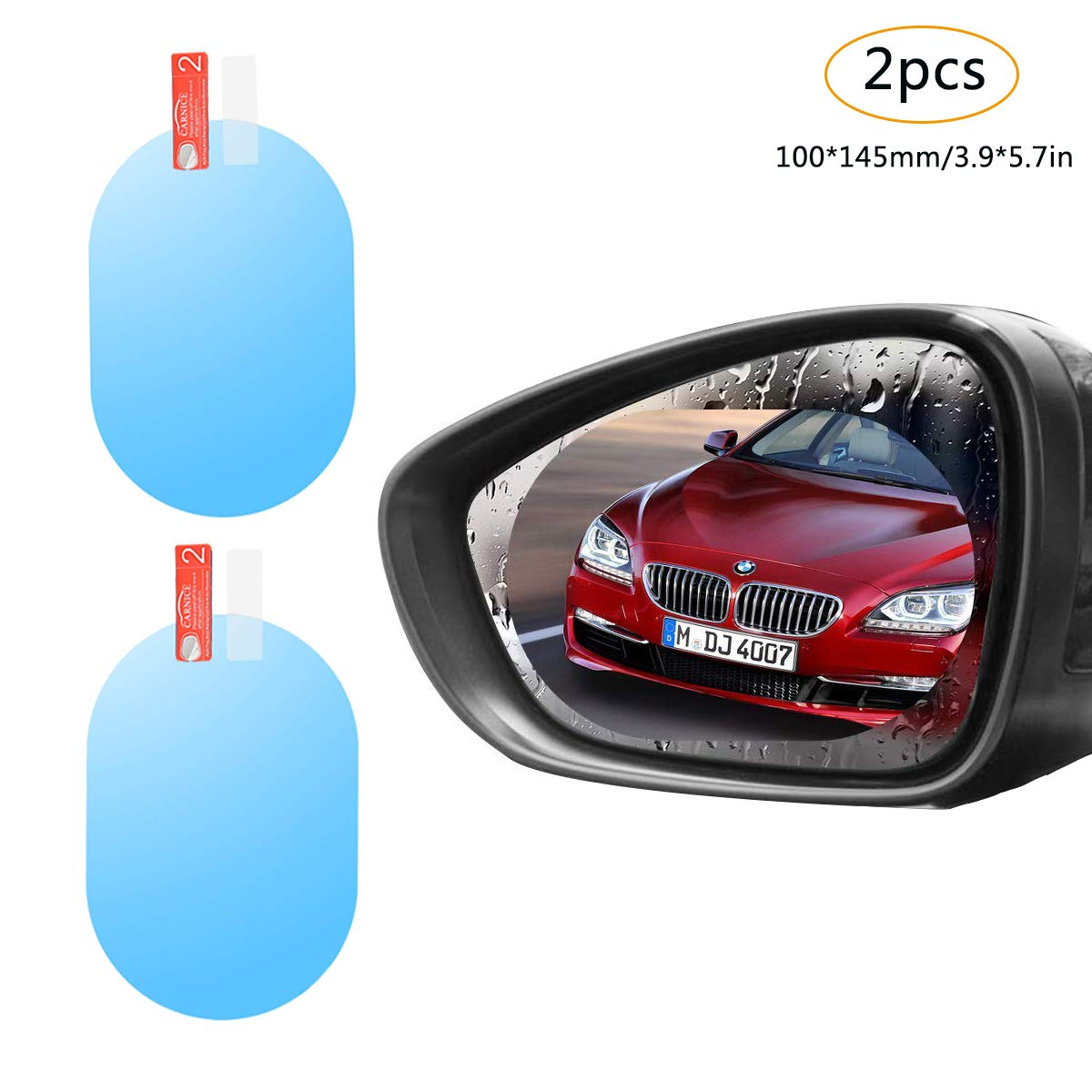 Rearview Mirror Rain Film Rainproof Rear Mirror Membrane HD Anti-Fog Anti-Glare Oil-Proof Clear Vision Safe Driving Accessories Rain Foggy Day for Car Motorcycle Set of 2pcs (Oval 100× 145mm) YVO