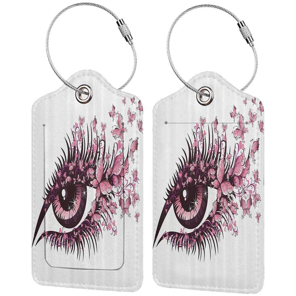 Durable luggage tag Butterflies Decoration Female Eye With Butterflies Eyelashes Mascara Stare Makeup Party Celebration Unisex W2.7 x L4.6