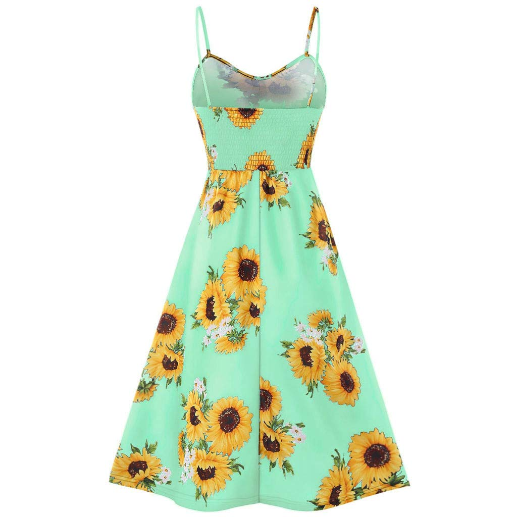 Womens Dresses-Summer Floral Bohemian Spaghetti Strap Knee Length Dress Button Down Swing Midi Dress with Pockets