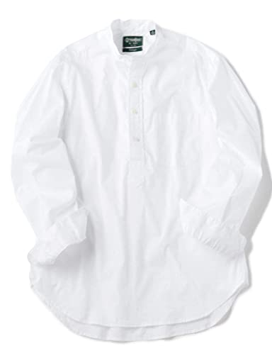 Popover Oxford Band Collar Shirt 111-11-4083: White