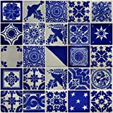 "Color y Tradicion 25 Hand Painted Decorative Talavera Mexican Tiles 2""x2"" White and Blue"
