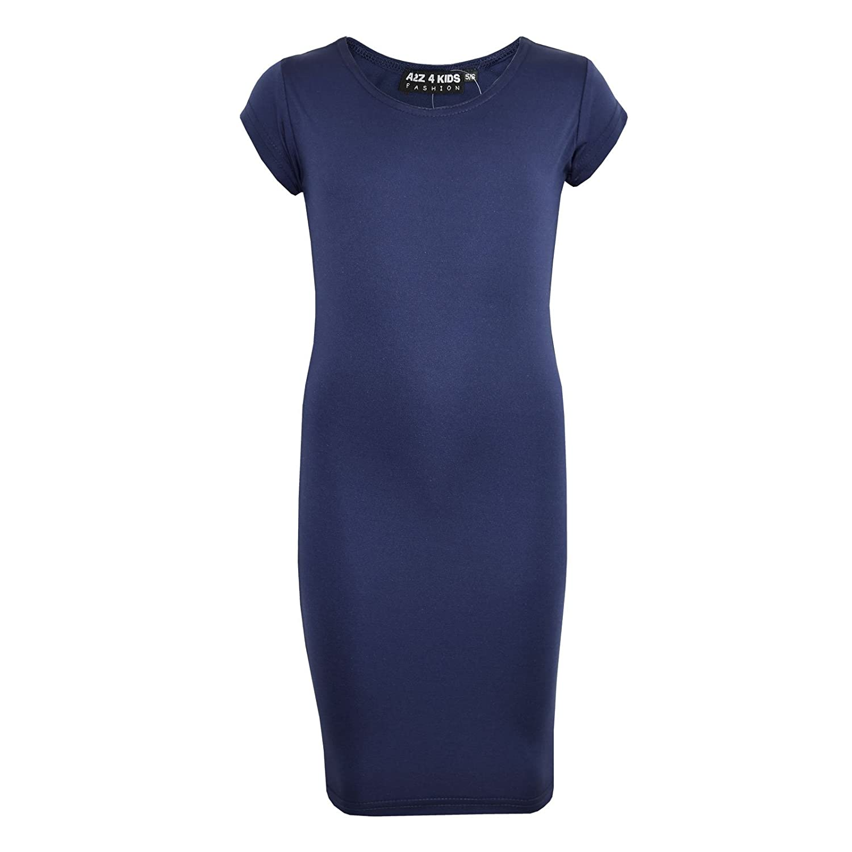 A2Z 4 Kids/® Gilrs Midi Dress Kids Plain Color Bodycon Summer Fashion Dresses New Age 5 6 7 8 9 10 11 12 13 Years