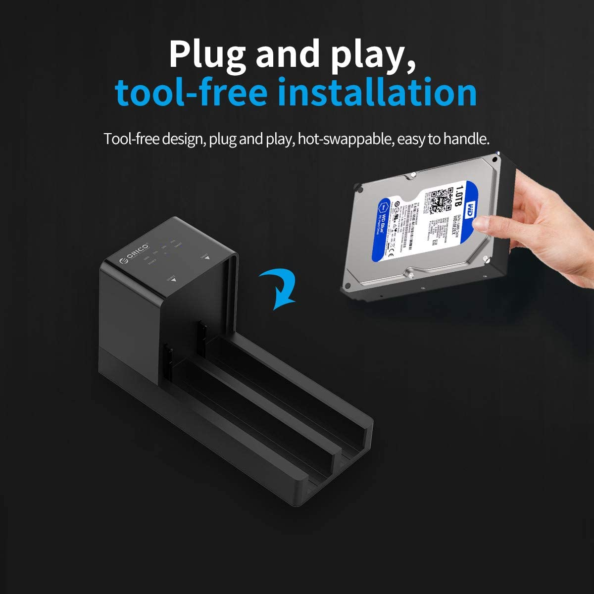 Supports up to 8TB Drive ORICO SATA to USB 3.0 External Hard Drive Lay-Flat Docking Station for 2.5 or 3.5 HDD//SSD