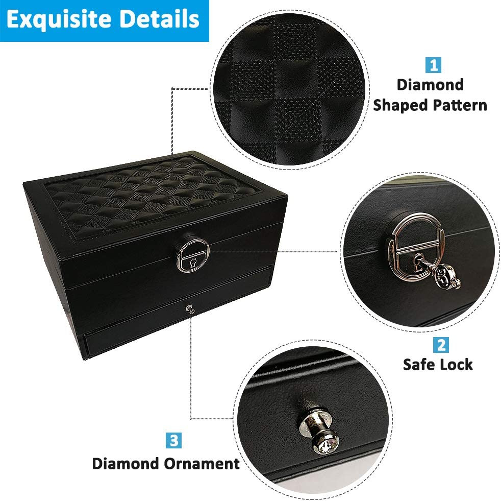 Jewelry Organizer Storage Jewelry Case Holder DOURR Jewelry Box for Women Black