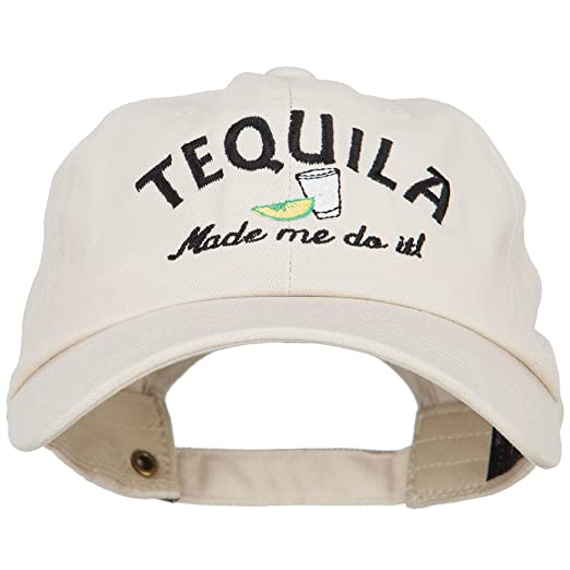 4b7829bc1d3 E4hats Tequila Made Me Do It Embroidered Unstructured Cap - Beige OSFM