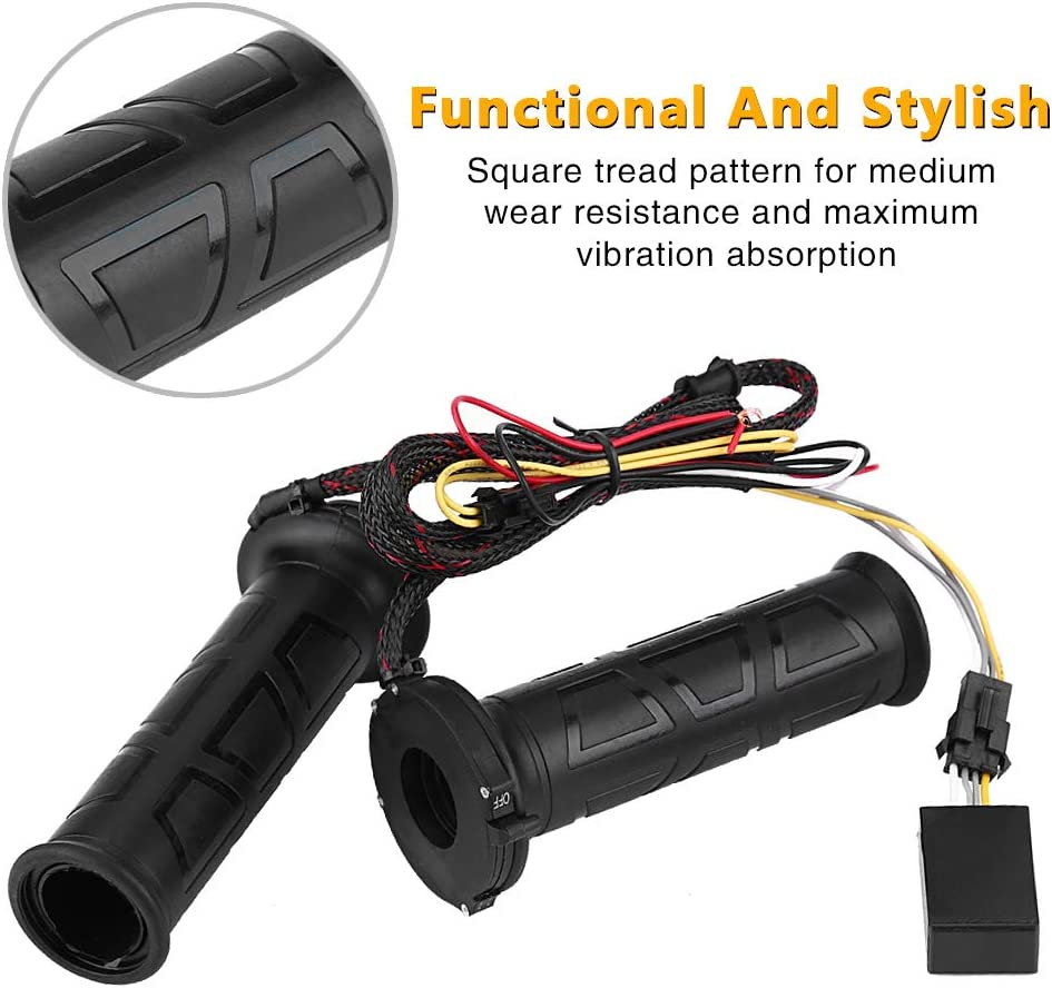 Ternence Flynn 1 Pair Motorcycle Heated Handlebars 12V Motorcycle Refit Handlebars Three-way Temperature Control Heated Grips Handlebar Perfect for Universal Motorcycle ATV Scooter 22mm diameter