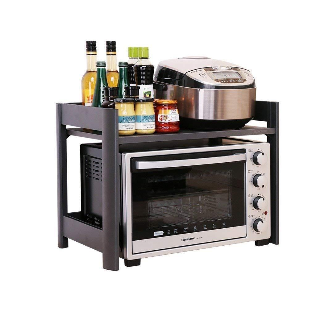 ステンレス鋼キッチンラック電子レンジラックラックオーブン棚2層キャビネット収納炊飯器多機能収納 LJKHDF B07S2LWP5F