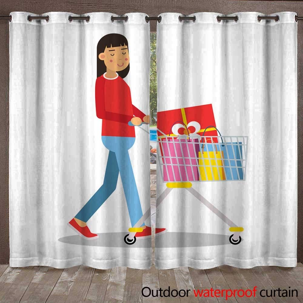 RenteriaDecor Home Patio Outdoor Curtain Young Brunette Woman in Casual Clothes Walking with a Shopping cart Cartoon Character Vector Illustratio W108 x L84