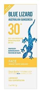 Blue Lizard Australian Sunscreen - Face Sunscreen SPF 30+ Broad Spectrum UVA/UVB Protection - 5 oz Bottle, 2 Pack