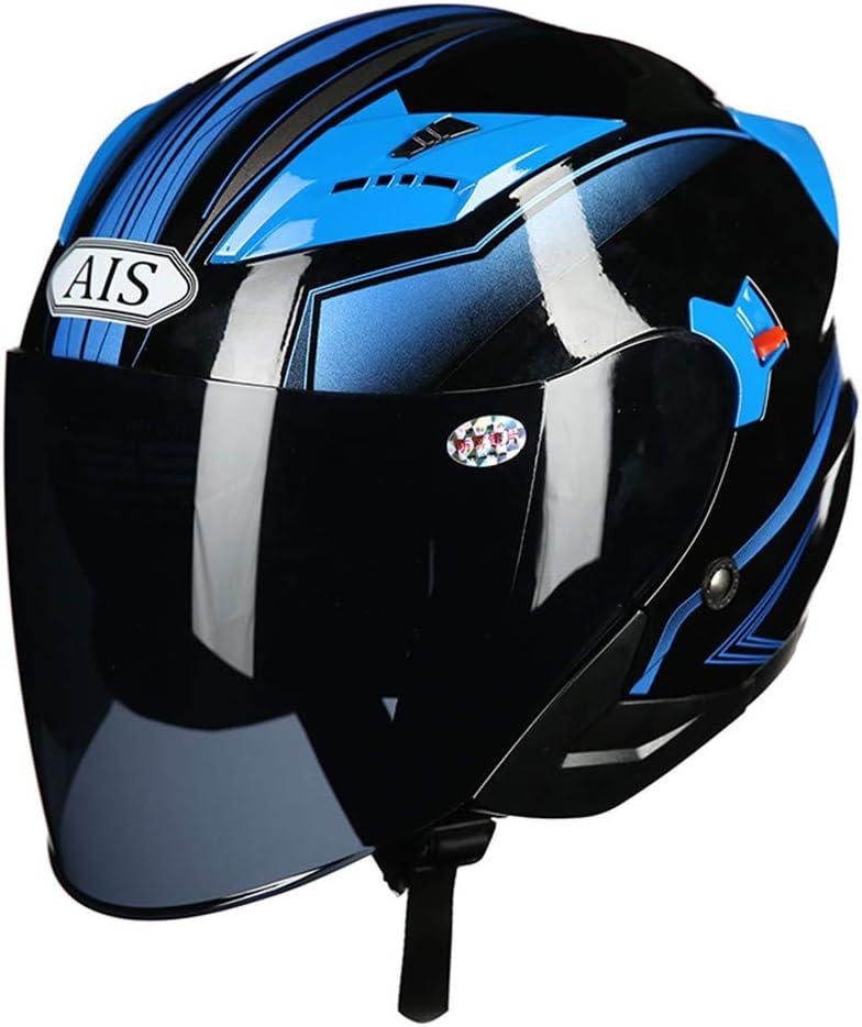 Sanhai Casco de la Motocicleta Open-Cara de la Personalidad Motociclismo Jet Adulto Casco Campo a trav/és del motocr/ós Casco Doble Visera Moda Hombres Mujeres,Azul,L