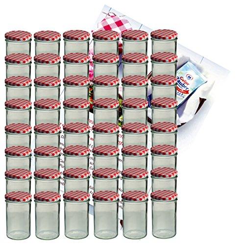 48er Set Sturzglas 435 ml Marmeladenglas Einmachglas Einweckglas To 82 rot karierter Deckel incl. Diamant-Zucker Gelierzauber Rezeptheft
