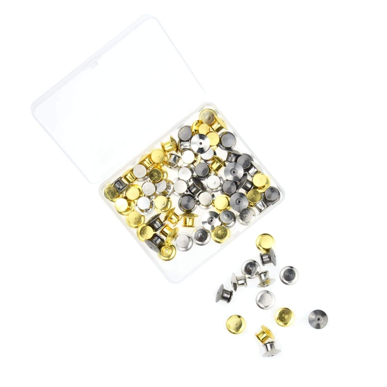 DerBlue 60 Pieces Pin Backs Locking Bulk Metal Pin Keepers