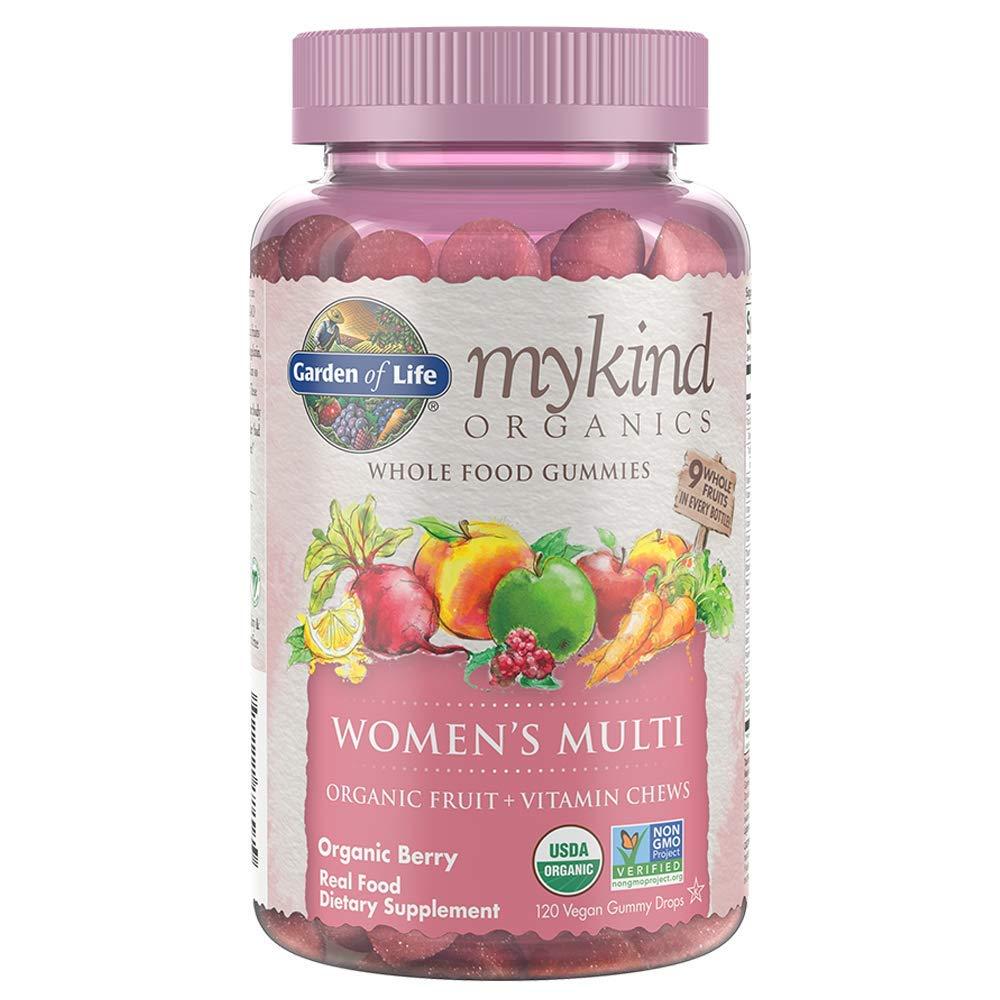 Garden of Life - mykind Organics Women's Gummy Vitamins - Berry - Certified Organic, Non-GMO, Vegan, Kosher Complete Multi - Methyl B12, C & D3 - Gluten, Soy & Dairy Free - 120 Real Fruit Gummies by Garden of Life