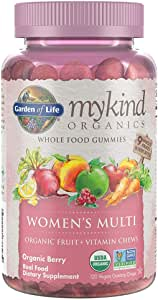 Garden of Life - mykind Organics Women's Gummy Vitamins - Berry - Certified Organic, Non-GMO, Vegan, Kosher Complete Multi - Methyl B12, C & D3 - Gluten, Soy & Dairy Free - 120 Real Fruit Gummies