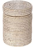 La Jolla Round Rattan Container with Plastic Insert and Twist-Off Lid, Large, White Wash