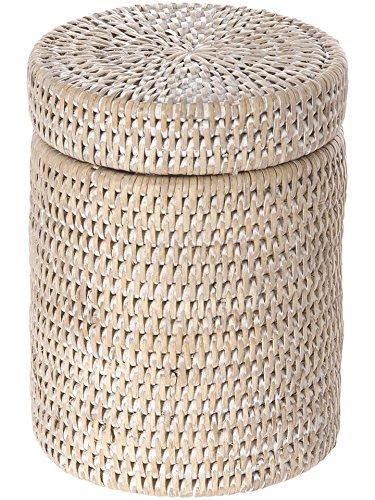 Kouboo La Jolla Handwoven Round Rattan Container, Twist-Off Lid, Large, White Wash